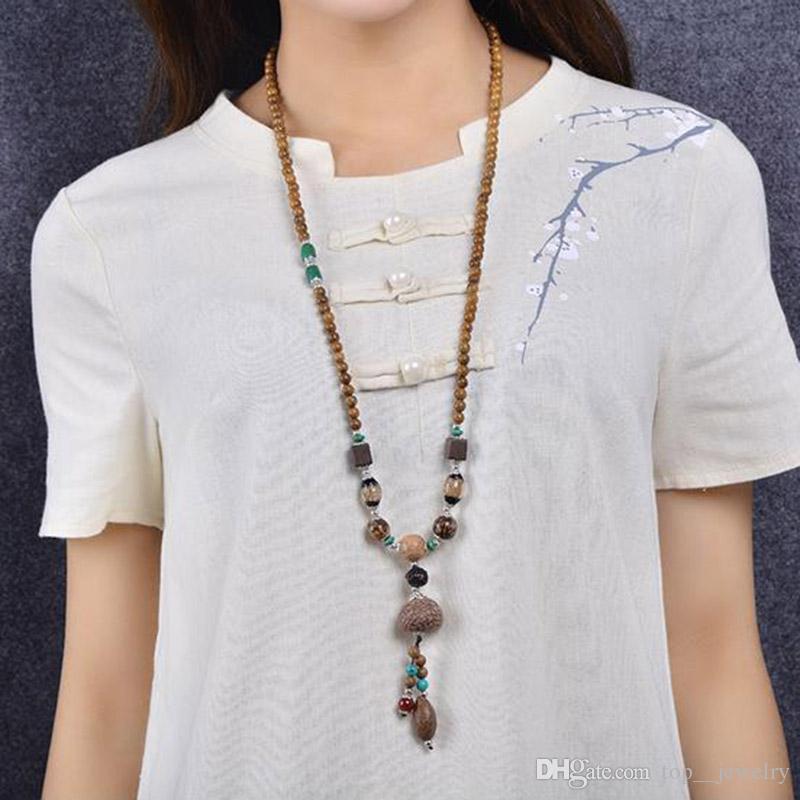 새로운 복고 남성과 여성 부처님 구슬 나무 예술 혈액 실크 Bodhi 수송 액세서리 긴 단락 스웨터 체인의 고대 스타일
