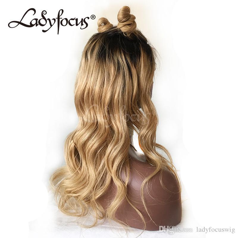 Glueless Full Lace Perruques de Cheveux Humains Avec des Cheveux de Bébé 150% Brésiliens Vierge Cheveux Lâche Vague Dentelle Avant Blonde Blonde Perruque Pour Les Femmes Noires