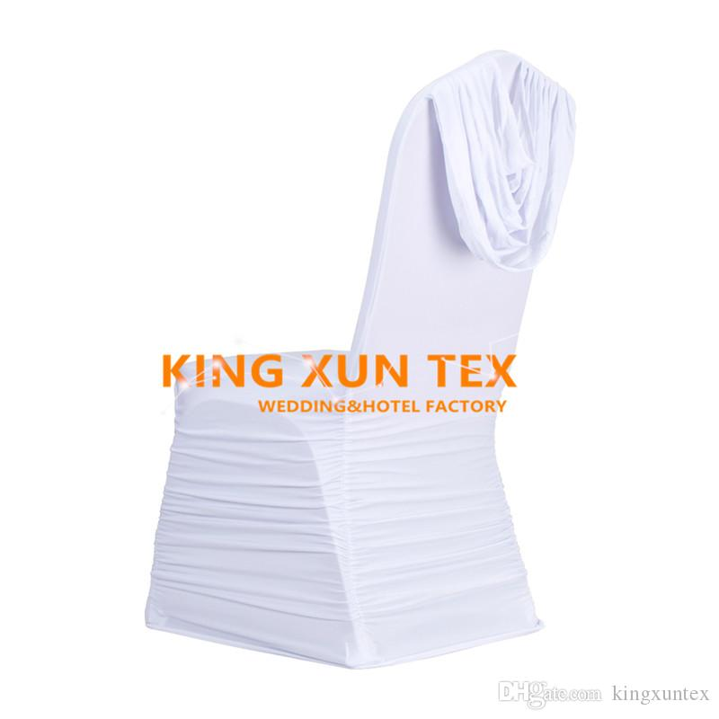 Pleated Lycra Spandex Chair Cover Back With Swag Drape For Wedding And Event Decoration
