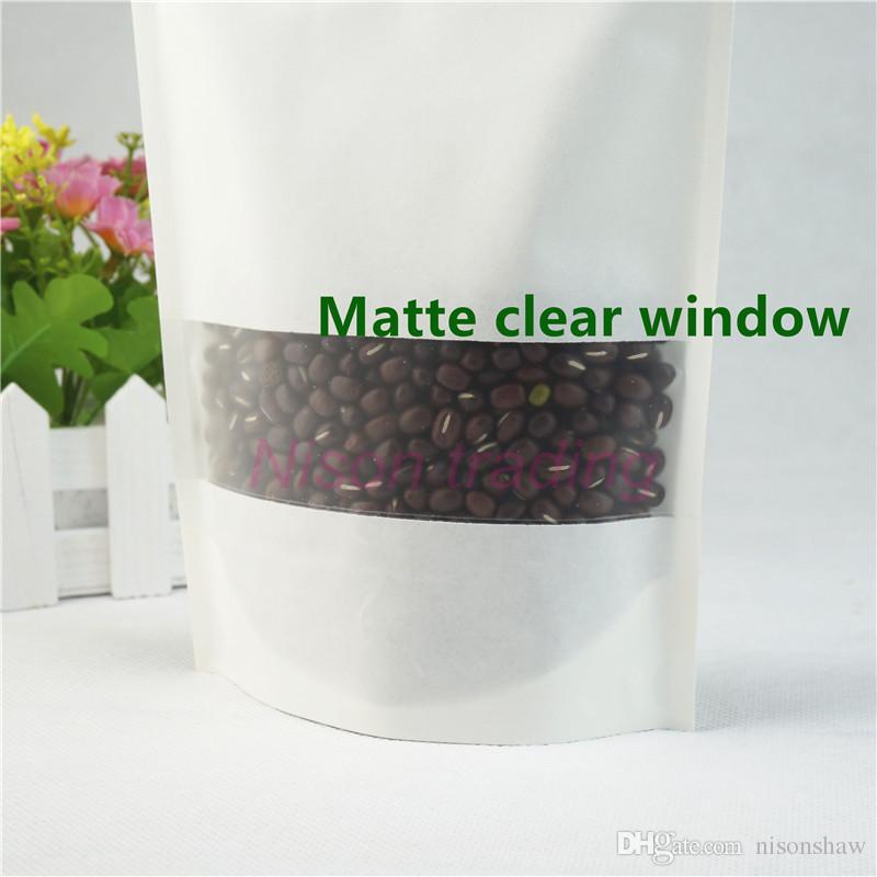 10*15cm stand up White Kraft paper bag with Matte transparent window, storage charcoal powder paper pouch reopenable,farina sack