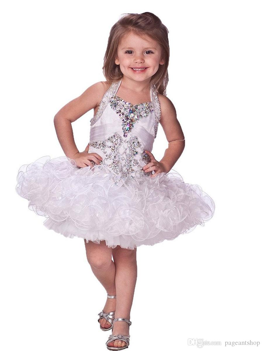 Flower Girls Glitz Beaded Pageant Cupcake Dresses Infant Mini Short Skirts Toddler Tutu Girl White Halter Dresses