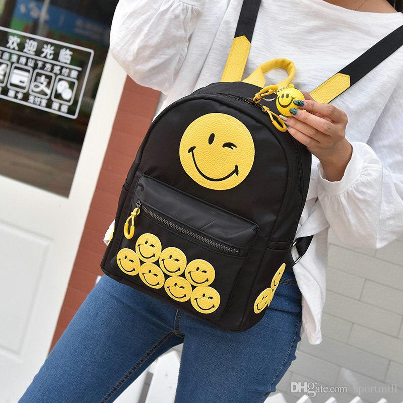 Smile face backpack Laugh school bag Yellow color daypack Designer schoolbag Outdoor rucksack Sport day pack