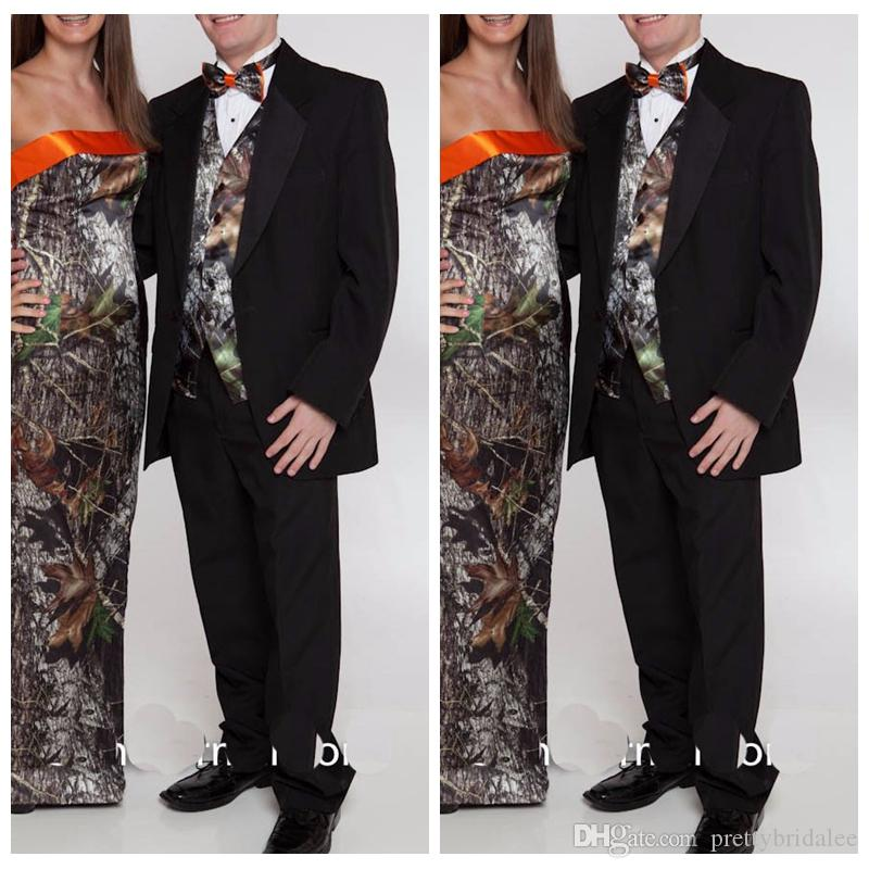 Custom Men Camo Wedding Tuxedos Formal Man Vest Camouflage Groom Party Wear Country Customized Groomsman Jacket Pant Bow Dress Suits