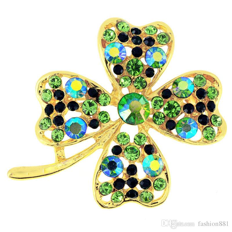 Multi Green Lucky 4 Leaf Clover Flower Crystal Pin Brooch 1.75 x 1.5 inches