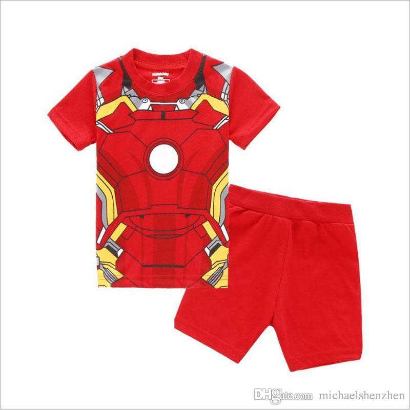 Erkek örümcek adam Homecoming Pijama DHL çocuk Avengers Kaptan Amerika Iron Man Kısa kollu T-shirt + şort 2 adet suit B001