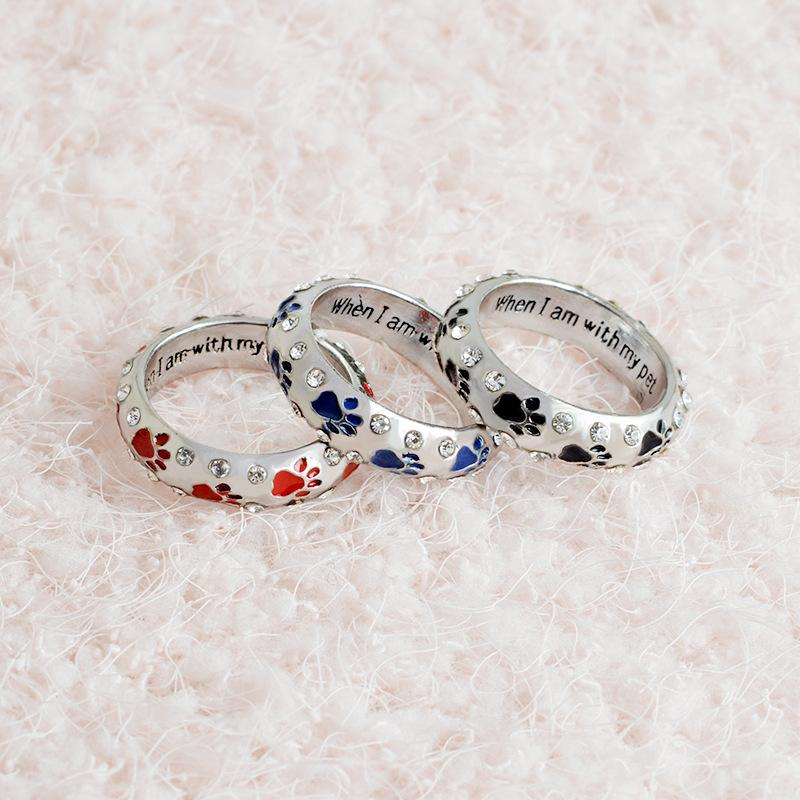 lover rings pet puppy enamel you black forever prints cat enlight memorial men couple paw cute will jewelry i dog product love ring
