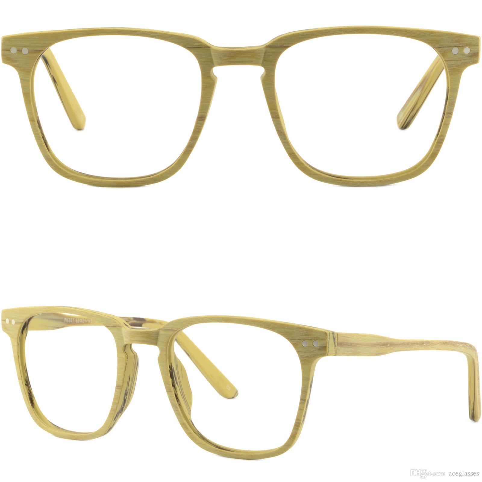 ca9b4b9da08 Brillengestell Fassung Gestell Brille Square Men Women Frames Faux Wood Acetate  Prescription Glasses Silver Dot Pieces Glasses Frame Online with   22.8 Piece ...