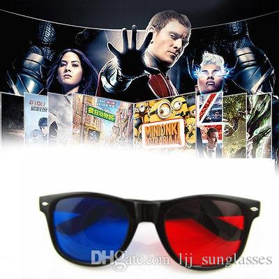 Universal 3D Glasses Red Blue Cyan Black Frame Movie TV/Computer Game DVD Vision/Cinema Anaglyphic 3D Plastic Glasses YYA689