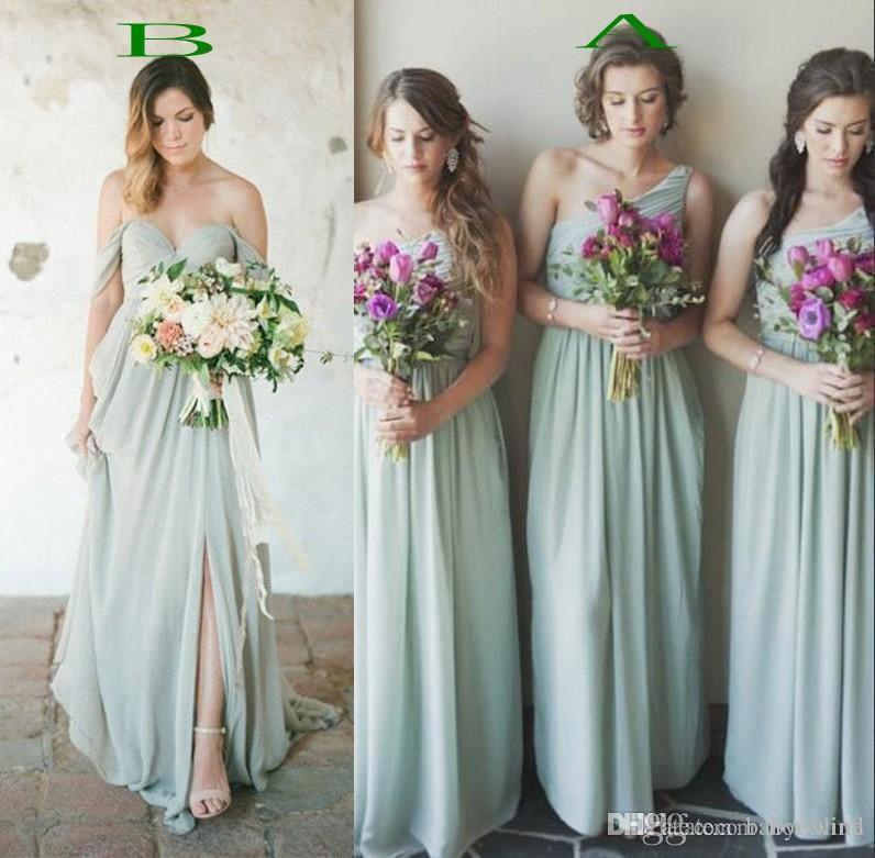 2017 hot mint green chiffon bridesmaid dresses for summer