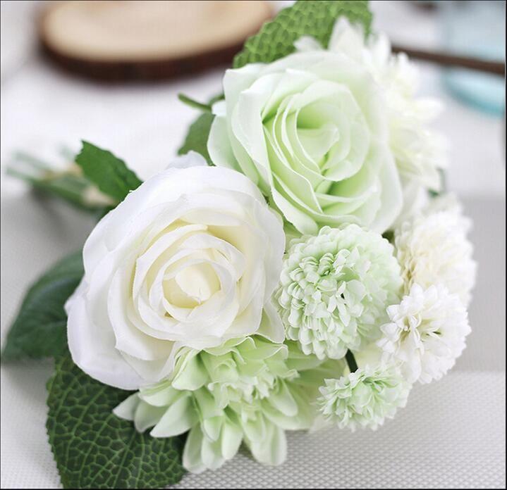 Best New 30cm/11.8 Silk Flower Wedding Bouquet Rose Dahlia ...