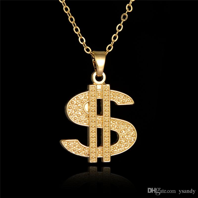Hip Hop Singer Style US Dollar Sign Pendant Men Necklace Gold Link Chain Cool Necklace Jewelry Accessories