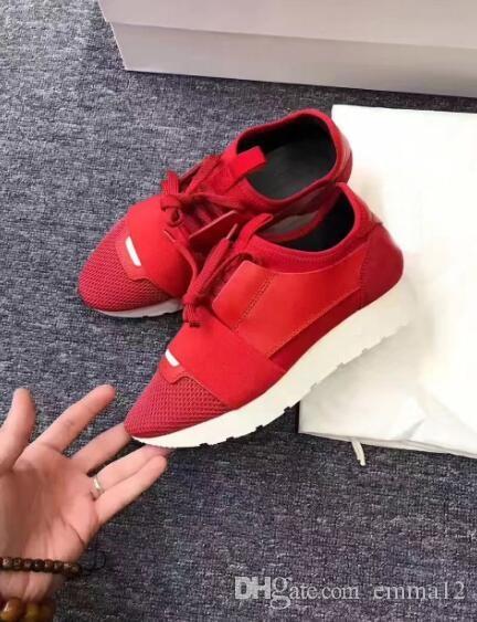 2017 جديد مصمم اسم العلامة التجارية امرأة رجل حذاء مسطح موضة الأحمر كله الأبيض جلد شبكة مختلط اللون المدرب عداء أحذية للجنسين حجم 35-46