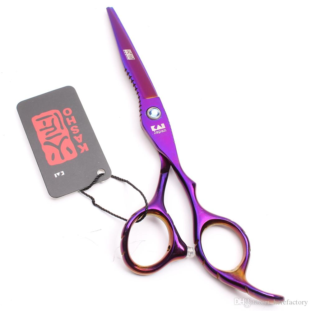 "H1011 6"" Japan Steel Purple Kasho Professional Human Hair Scissors Barber's Hairdressing Scissors Cutting Thinning Shears Salon Style Tools"