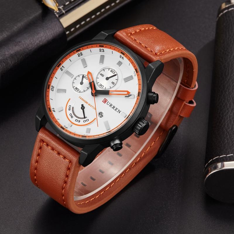 84ac22261fd7 Compre Curren 8217 Reloj De Cuarzo Hombres Cuero De Lujo Gris Venta Al Por  Mayor Relojes Para Hombre Casual Hombre Reloj Deportivo Hombres Fecha  Automática ...
