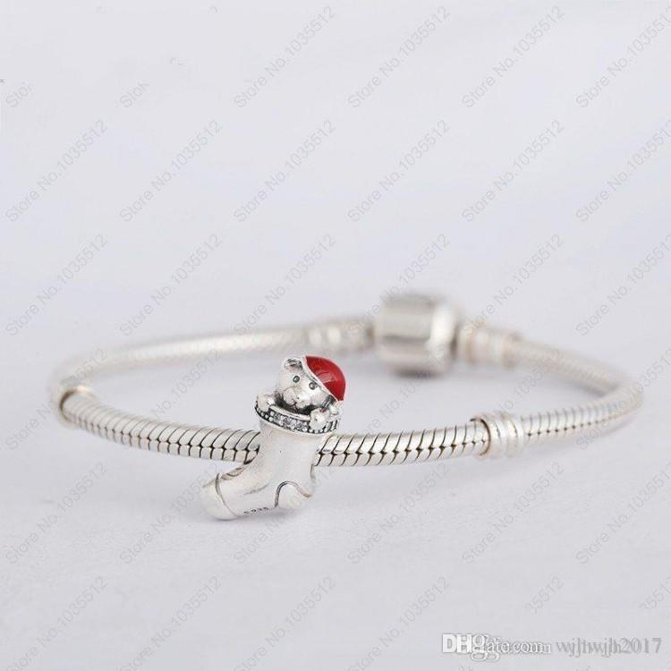 New Red Enamel Bear Crystal Pave Christmas Stocking Charm Beads Authentic 925 Sterling Silver Jewelry Fits European Bracelets DIY Jewelry