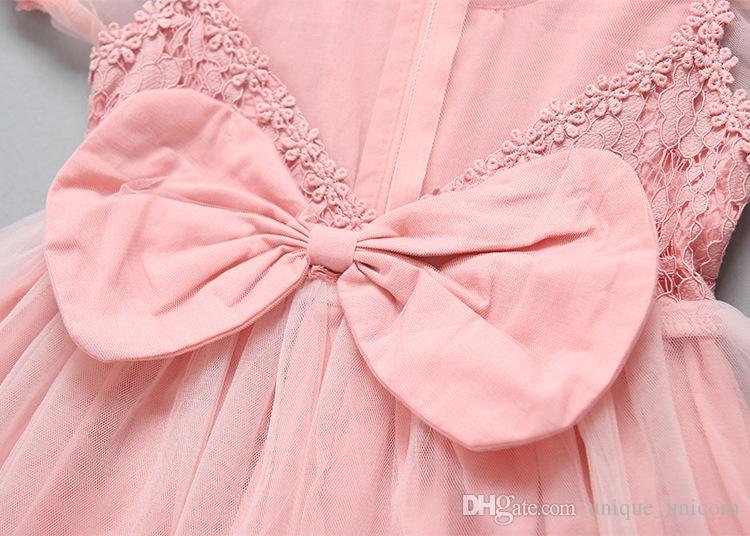 Disegni dei vestiti dei bambini Vestiti da manicotto del manicotto del merletto delle ragazze Vestito convenzionale dal partito di compleanno del vestito dalla principessa di Bowknot della ragazza dolce