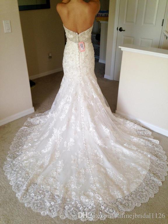 Amostra real Querida Frisada Decote Pérolas Cristais Luxuoso Sereia Rendas Vestido De Noiva Vestidos de COR-259 Vestido De Noiva