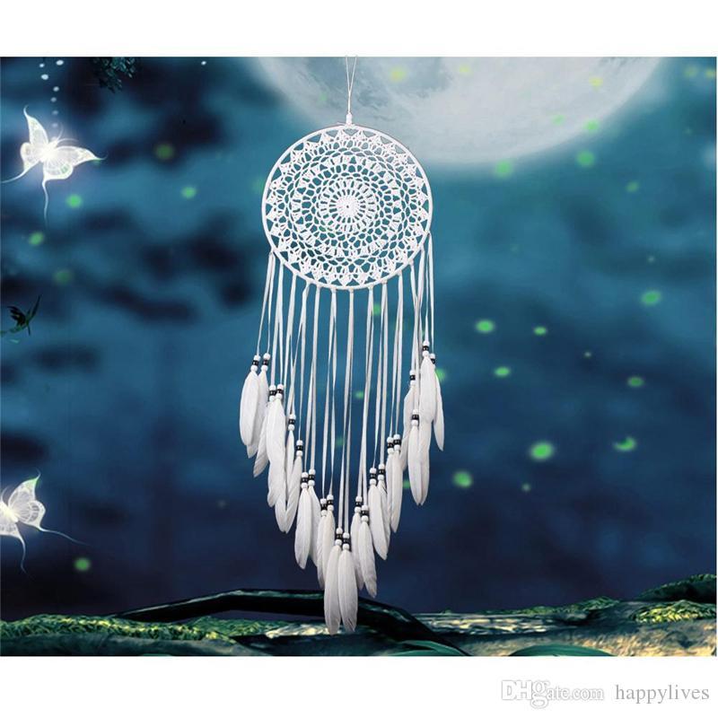 Wind Chimes handgemachte Spitze Dream Catcher Federn Wandbehang White Dreamcatcher Wind Chimes Feder Windspiel Handwerk Geschenk gehäkelt
