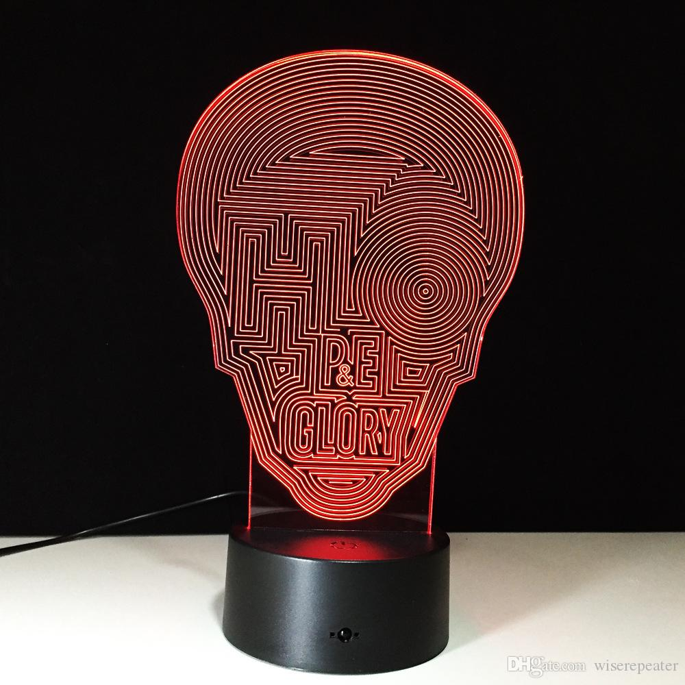 3D Maze Skull Illusion Lamp Night Light DC 5V USB Powered 5th Battery Wholesale Dropshipping