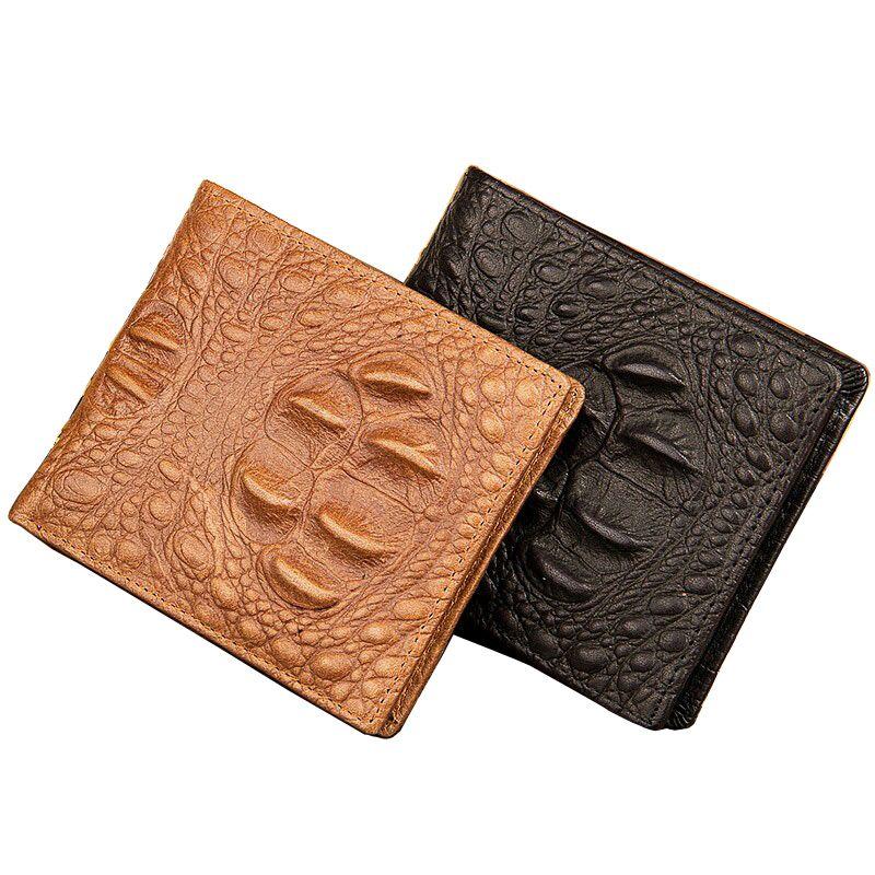 Klassische Design Echtes Leder Alligator Muster Stil Männer Brieftaschen Schwarz Braun 3 Falten Kartenhalter Geldbörse Brieftasche Freies Verschiffen
