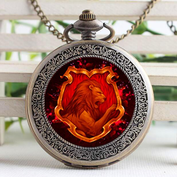 097148278 Inspired By Gryffindor Round Glass Cabochon BestMen Watch with Chain ...