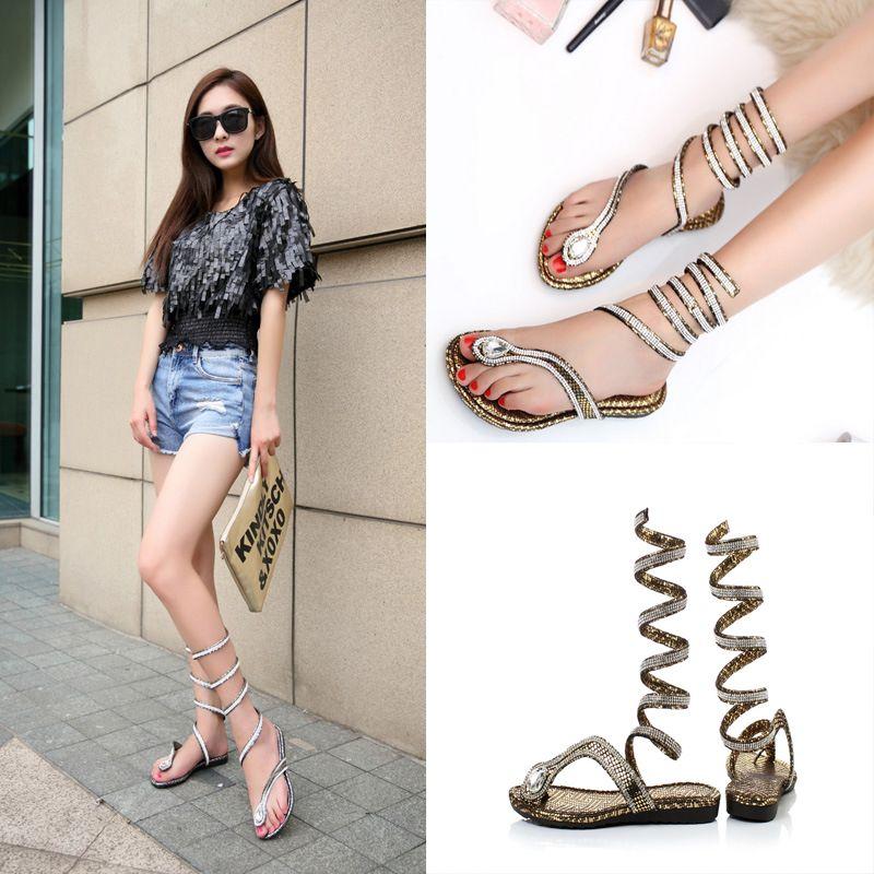 390f74b0b1ac7 Women Wrap Around Sandals Summer Style Crystal Rhinestone Gladiator Sandal  Snake Shape Strap Flat Heel Shoes Flip Flops C56Q Girls Sandals White  Sandals ...