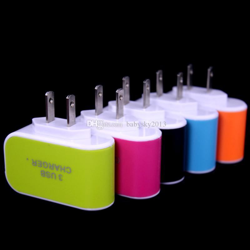 3 Usb ports Eu US Ac home wall charger travel adapter adaptor for android phone gps mp3 for iphone 5 6 7 samsung s6 s7 edge