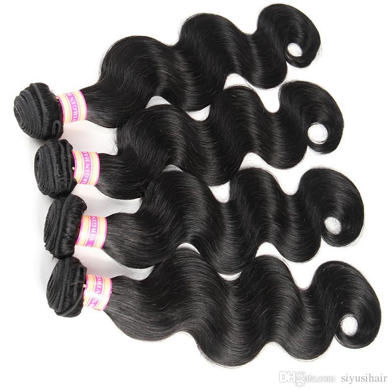Pelo virginal brasileño de la onda del cuerpo que teje los paquetes sin procesar y el cierre Paquete del pelo humano que cierra el cordón 3 o 4 paquetes con el cierre