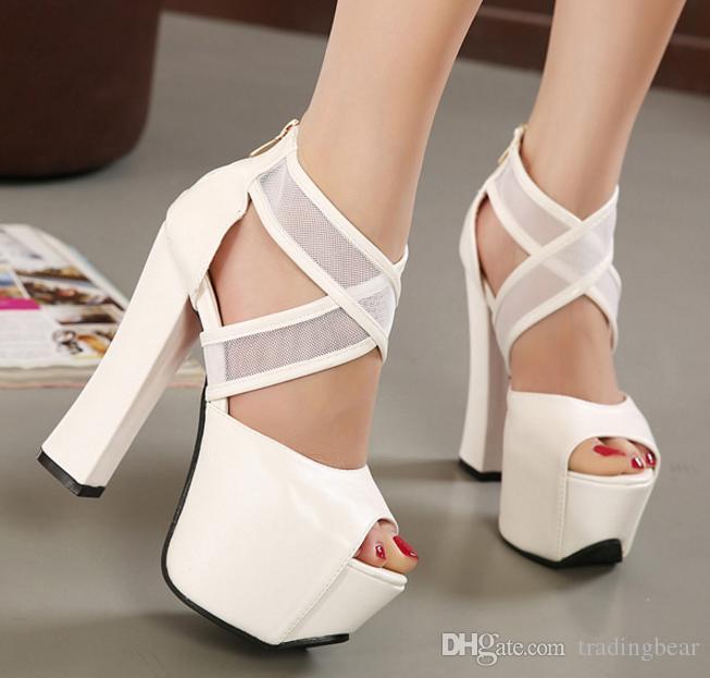 3dcf65442d43b Acheter 14cm Femmes Chic Marron Cross Strappy Peep Toe Blanc Épais Haut  Talons Chaussures De Mariage Femme Sandale Taille 34 À 39 De  33.08 Du  Tradingbear ...