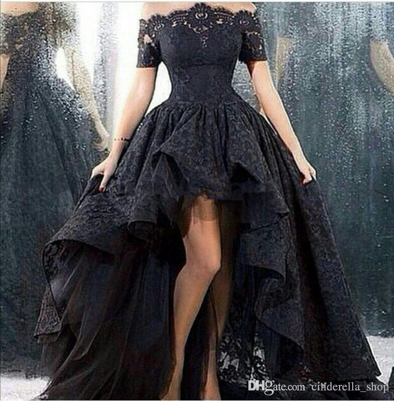 Arábia árabe Alta Baixa Prom Dresses 2019 Alças de manga curta Dubai festa à noite Preto Pageant Vestidos Vestidos De Fiesta