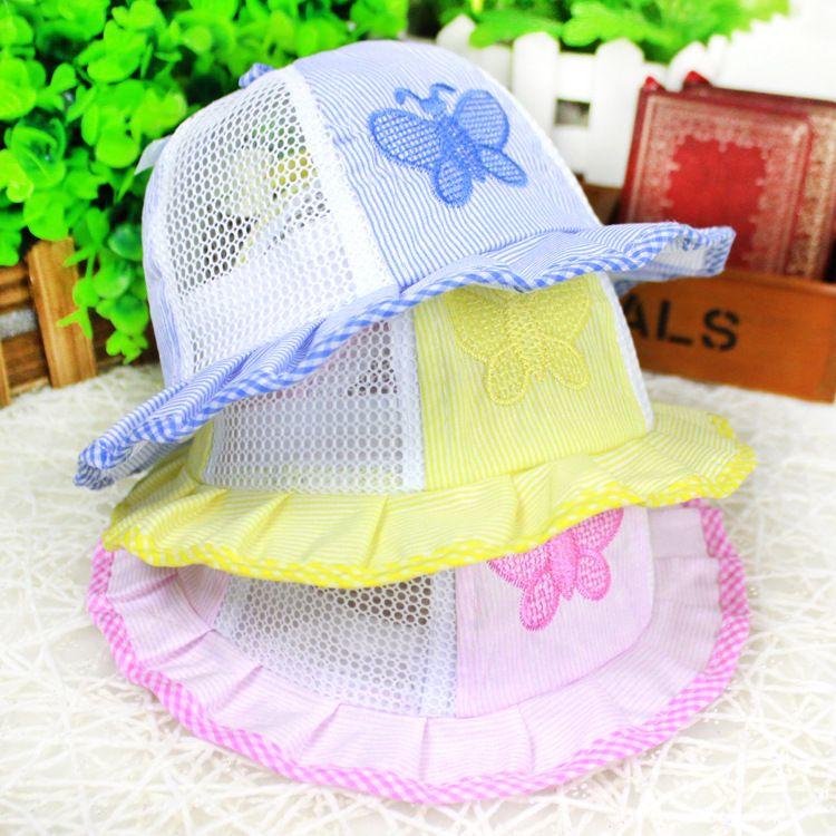 23754822b40 2019 Summer Wide Brim Mesh Bucket Hat Newborn Infant Visor Sun Hats Caps  Soft Cotton Baby Girl Boys Toddler Child Butterfly Sunbonnet From  Hk bonroy