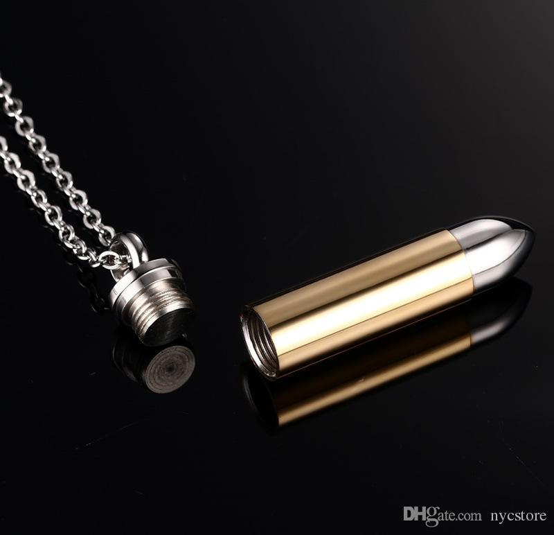 Uomini titanio acciaio urna collane cremazione bottiglia di profumo bottiglia proiettile proiettile catene collana monili delle donne può essere aperto mettere in ceneri