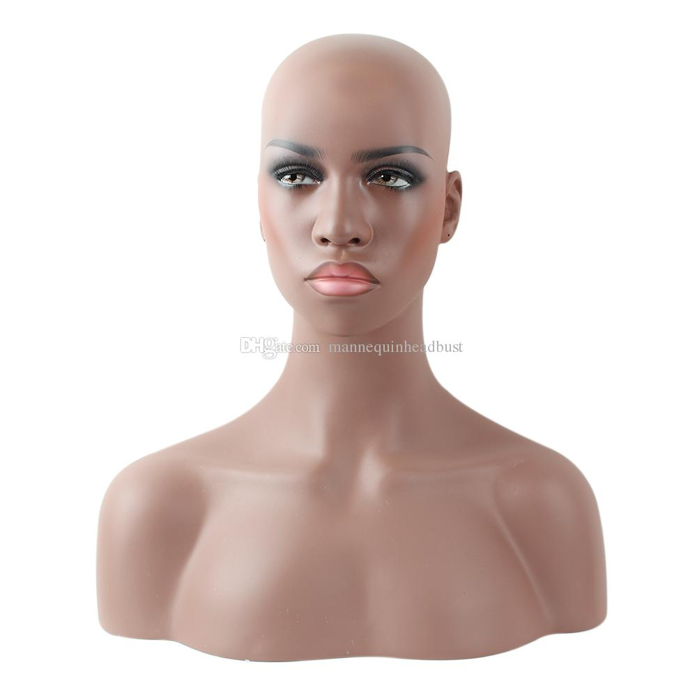 Realistic Female Black Afro-American Fiberglass Mannequin Dummy Head Bust For Lace Wig And Jewelry Display EMS Shipping