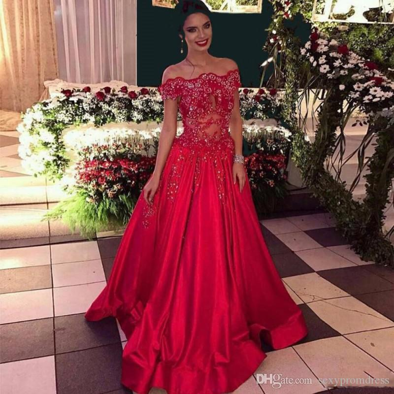 7af79b1ed11 Elegant Red Prom Dresses Sexy Off The Shoulder Lace Appliques Beads Evening  Gowns See Through A Line Satin Formal Party Dress Original Prom Dresses  Petite ...