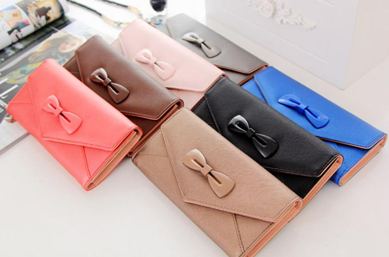 Women Evening Bags Nice Bowknot Clutch Bags PU Leather Wallets & Holders Card Holder Wallets For Lady Dress Accessories