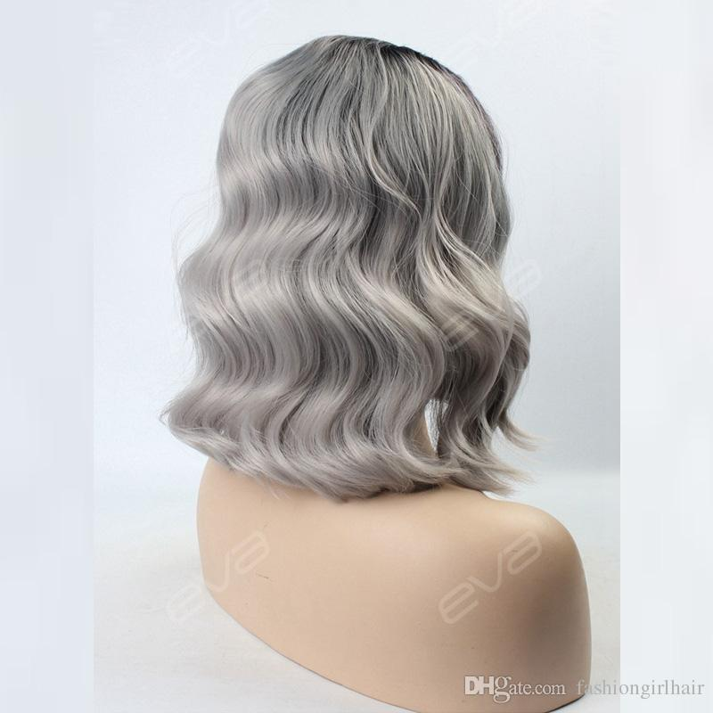 Stock black/grey two tone ombre wavy synthetic lace front wigs silver grey short bob wig heat resistant natural hairliine