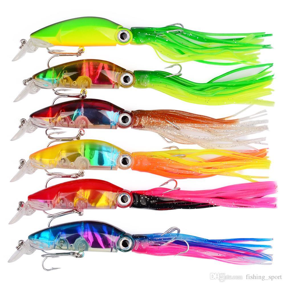 6-couleur 10cm 18.1g Calmar En Plastique Appâts Dur Leurres Crochets De Pêche 2 # Crochet Artificielle Appâts Pesca De Pêche Accessoires