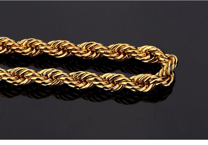 Top Quality Hip Hop Corda Collana a catena Bracciale Rock Rapper Set di gioielli uomo Donna 75cm * 8mm, 21cm * 8mm