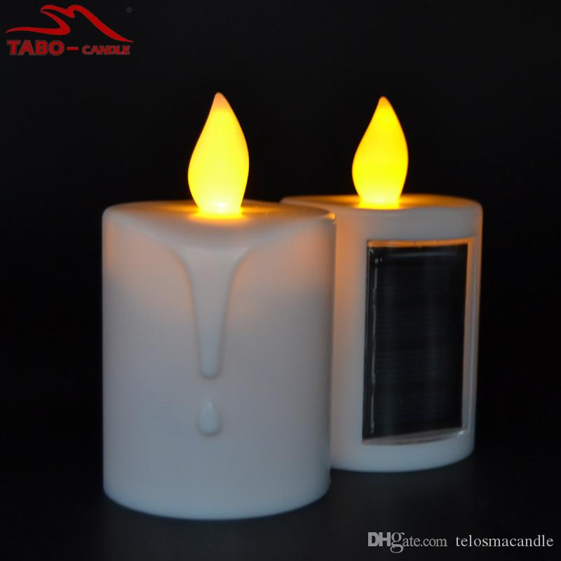 Solar Led Candles Memorial Solar Powered Energy Candle For Cemetery