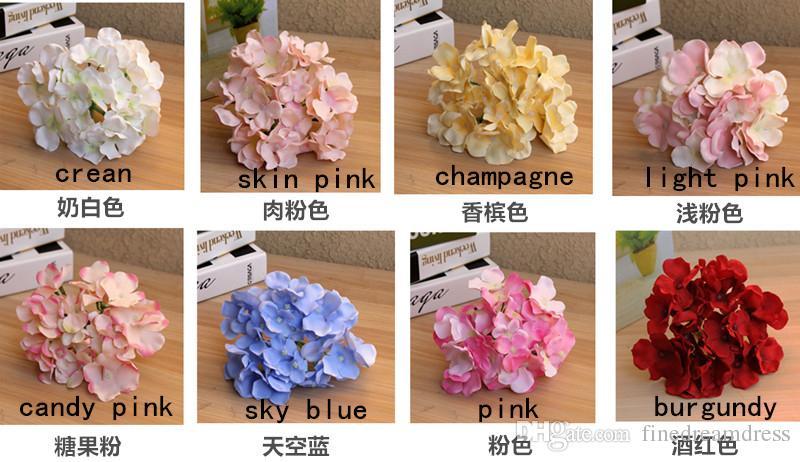 실크 인공 수국 Macrophylla 꽃 DIY 배경 홈 웨딩 헤드 장식 장식 꽃