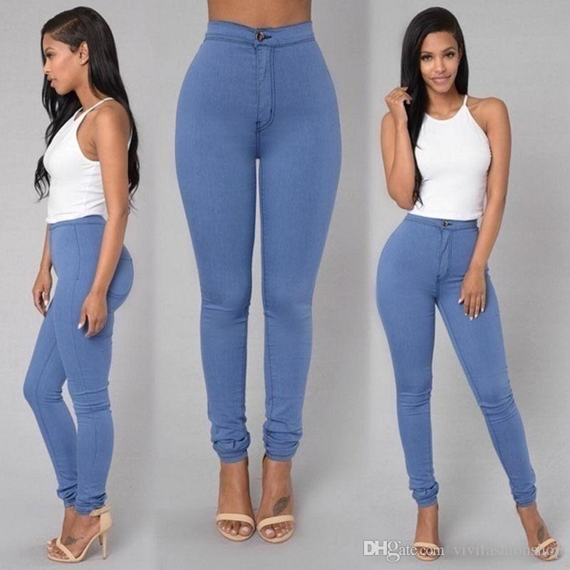 2018 YENI Seksi Kadın Sıska Streç Denim Ince Yüksek Bel Düz Polyester Pantolon Tayt Kot Pantolon