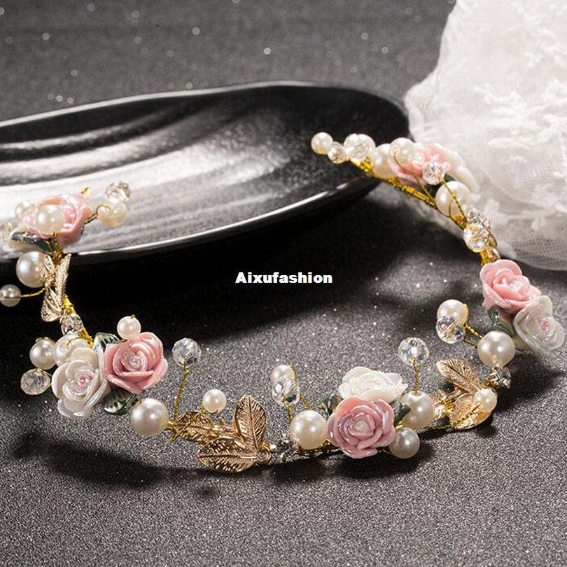 New Coming Bride Headdress Retro Hair Jewelry Copper Leaf Rhinestone Flower Crown Women Wedding Hair Accessories Cocktail Party