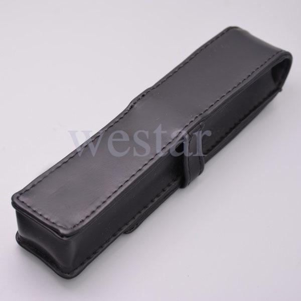 presente de alta qualidade Black Leather Pen Caso Bag Lápis Stationery For One Pen M Marca New Pouch
