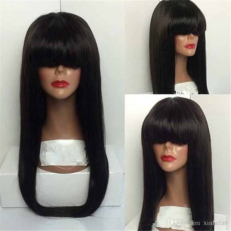 Full Lace Human Hair Wigs Peruvian Hair Straight Gluless Lace Front Human Hair Wigs for Black White Women