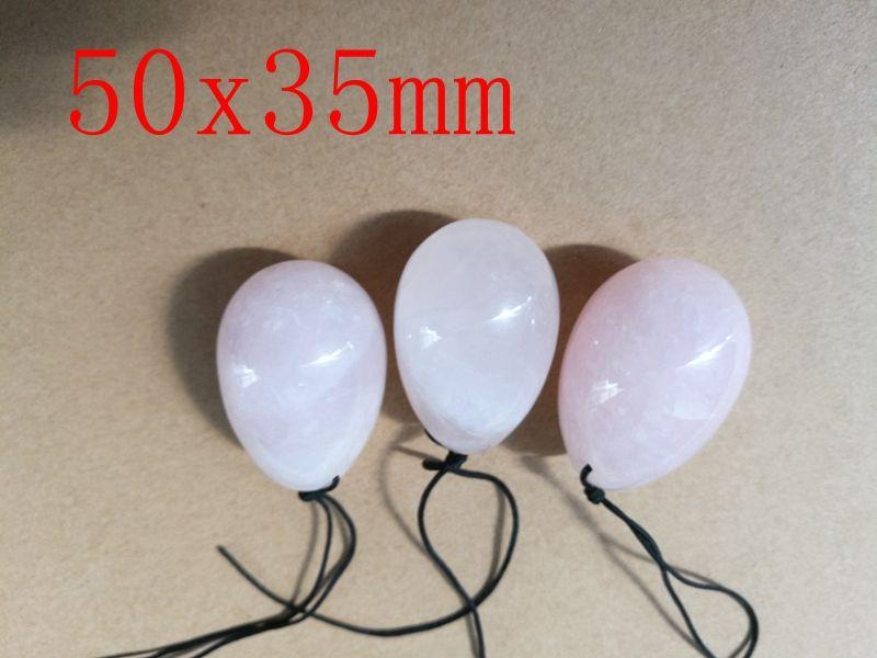 Ücretsiz Kargo 50X35mm Delinmiş Doğal Gül Kuvars Yeşim Yumurta Kadınlar Için Sağlık Yoni Yumurta Kegel Egzersiz Yoni Yumurta ile kese