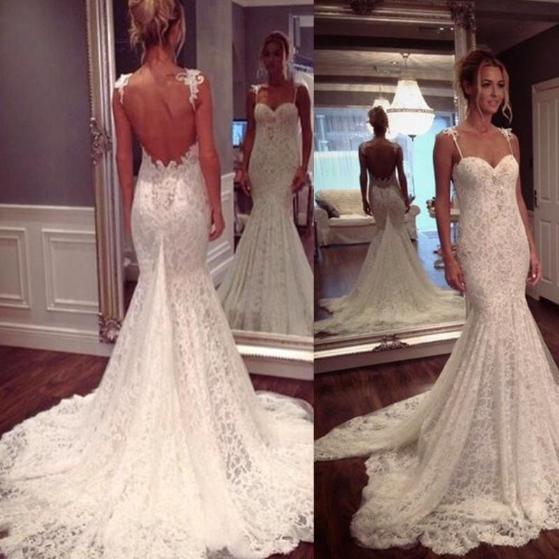 2018 Low Back Wedding Dresses Lace Spaghetti Straps