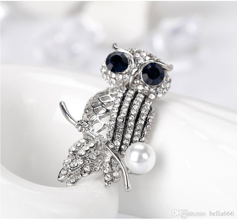 Fashion Simple Alloy Full Rhinestone Cartoon Owl Brooches Pin Ornaments Crafts Corsage Jewelry Clothing Scarf Buckle Suit Accessories