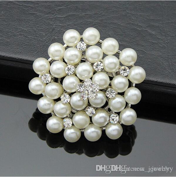 48e7ffafddc Bride Wedding Bouquet Pearl Brooch Imitation Silver Rhinestone ...