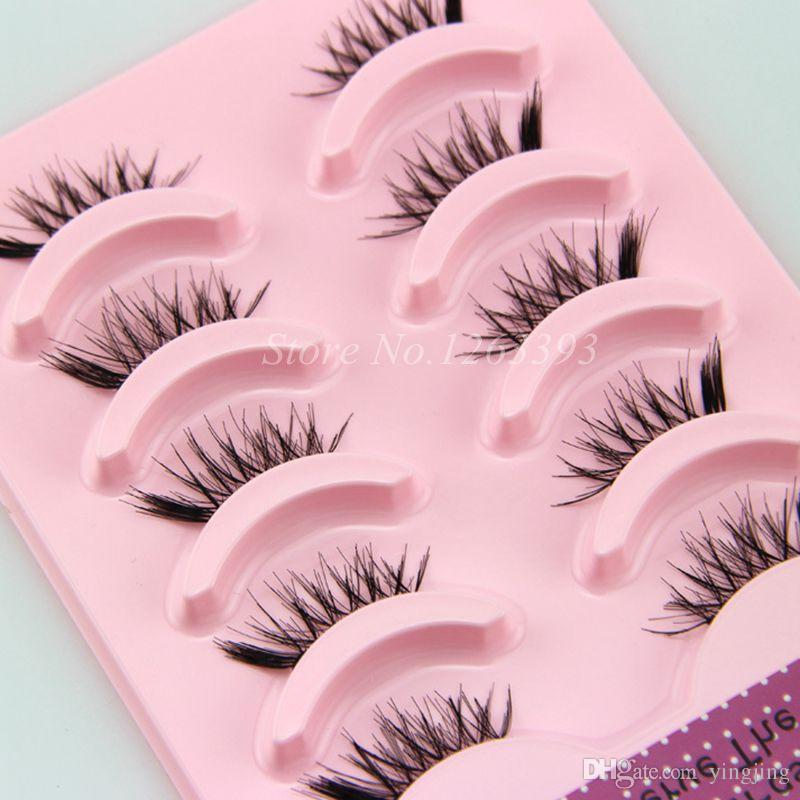 5 pares de medias pestañas postizas naturales entrecruzadas desordenadas gruesas y suaves pestañas falsas 100% hecho a mano tallos transparentes maquillaje pestañas