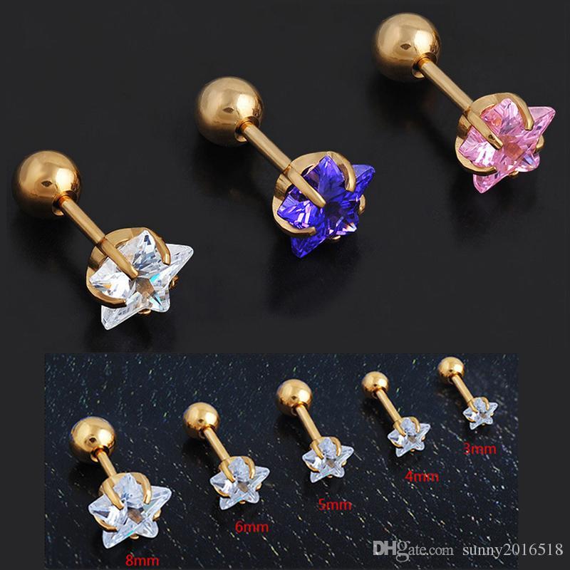 a0de9fe6d 5 Sizes Steel Barbell Crystal Pink Purple Pentagram Shape Zircon ...